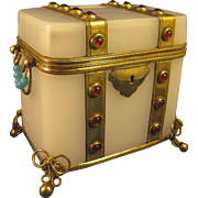Jeweled  ~ WHITE OPALINE GLASS BOX ~  Casket with Gilt Brass Accent