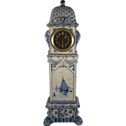 "Porceleyne Fles  ~ 1893 ANTIQUE DUTCH MINIATURE GRANDFATHER CLOCK ~  14"" Delft Porcelain"