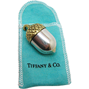 Tiffany & Co. 925 Sterling ~ GOLD OVERLAY ACORN PILL BOX ~ Silver & Original Bag