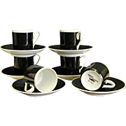 Set of Braniff International Black and White Demitasse Porcelain Cups and Saucers