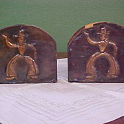 REDUCED Vintage Pressed Copper on Wood Bookends