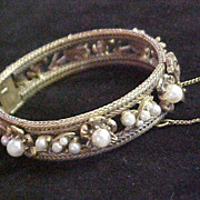 SALE Pretty Goldtone Bangle Bracelet from the 1930s