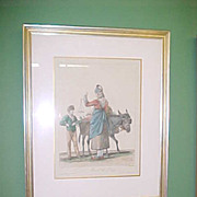 REDUCED Aquatint Lithograph of Carle Vernet Drawing