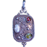 REDUCED Modernist Sterling Pendant with Colored Stones