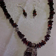 REDUCED Hand Strung Amber Necklace with Vintage Tibetan Pendant