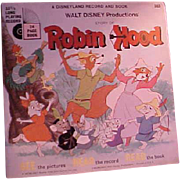 REDUCED Cute Children's Disney Record and Picture Book Robin Hood