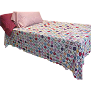 SOLD Wonderful Hand-Crocheted Bed Coverlet