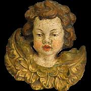 Vintage Carved Wood Polychrome Putto Angel Cherub