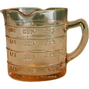 Depression-Era Pink Hazel Atlas Glass Kellogg Measuring Cup
