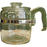 REDUCED 1950s Pyrex Glass 6-Cup Coffee Pot