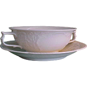 REDUCED Vintage Rosenthal Sans Souci Ivory Color Cream Soup Bowl with Saucer