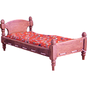 REDUCED Charming Little Dollhouse Rope Bed with Tufted Mattress