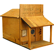 Darling Homemade Wooden Barber Shop Folk Art