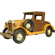 Hand-made Wood 1930 Ford Model A Coupe Signed Folk Art