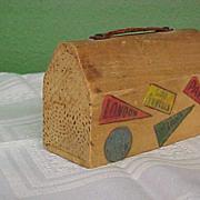 REDUCED Folksy Wooden Souvenir Suitcase Bank