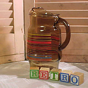 REDUCED Retro  Amber Glass Pitcher from the 1950s