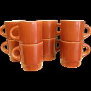 Rare 1950-60s Cinnamon Color Fire King Stackable Mugs