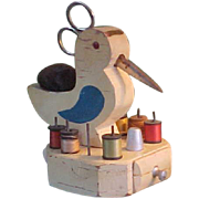 REDUCED Adorable Vintage Homemade Sewing Bird Sewing Notions Holder
