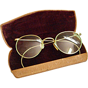 1920-30s Bausch and Lomb Ful Vue Wire Rim Glasses Spectacles with Case