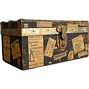REDUCED Old Well-Loved Wooden Doll Trunk