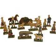 Miniature Flat Pressed Wood Rustic Village Figures with Cottage