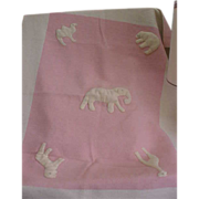 SALE Darling 1950s Felted Pink and White Baby Blanket