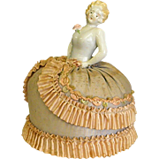 Vintage Porcelain Half Doll Pin Cushion