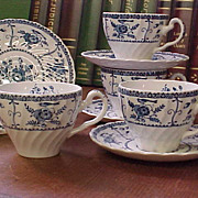 REDUCED Vintage Johnson Brothers Blue Indies Cups and Saucers