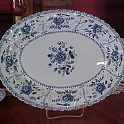 REDUCED Vintage Johnson Brothers Blue Indies Large Oval Serving Platter