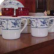 REDUCED Vintage Johnson Brothers Blue Indies Set of Five Mugs