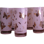 REDUCED Retro Set of Five Georges Briard White Tumblers with Gold Butterflies