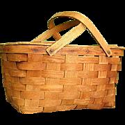 Wonderful Old Jerywil Wov-N-Wood Picnic Basket from 1940-50s