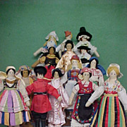 REDUCED Rare Find!  Set of 14 WPA Ethnically Dressed Dolls