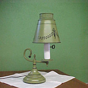 SOLD Mid-Century Small Green Tole Lamp