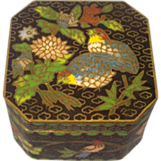 SALE Cloisonne Box Birds & Flowers on Black 8 sided