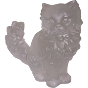 SALE Large Frosted Lead Crystal Persian Cat Figurine Germany