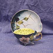 SALE Rare Antique ES Erdmann Schlegelmilch  Scallop Shell Cup & Saucer Porcelain