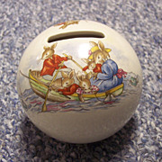 SALE Bunnykins Royal Doulton Money Ball Bank Fishing