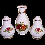 Royal Albert Old Country Roses Salt & Pepper Shakers & Vase England