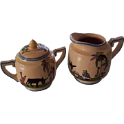 Mexican Tlaquepaque Sugar and Cream Pitcher