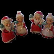 2 Sets of Mr. & Mrs. Santa Claus Salt & Pepper Shakers Japan