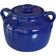 Bauer Cobalt Blue Pottery Bean Pot Cookie Jar