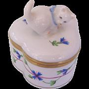Herend Hungary Cat Blue Garland Trinket Box