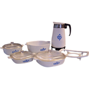 Corning Cornflower Banner Child's Toy Dishes Coffee pot, Casseroles