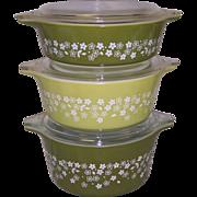 Pyrex Crazy Daisy/Spring Blossom 6 pc Casserole Set