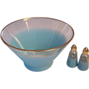 SALE Turquoise Blendo Glass Large Bowl + S & P Shakers
