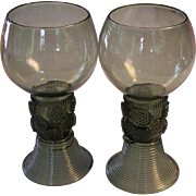 SALE Pr German/Bohemian Green Roemer hand blown Large Goblets with Prunts