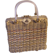 Vintage Stylecraft Wicker and White Pearlized Lucite Handbag Purse
