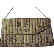 SALE SnakeSkin Envelope Style Clutch with Gold tone Chain Shoulder Strap