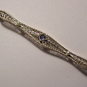 SALE 14K White & Yellow Gold Filigree Bar Pin Deco Sapphire & Pearls